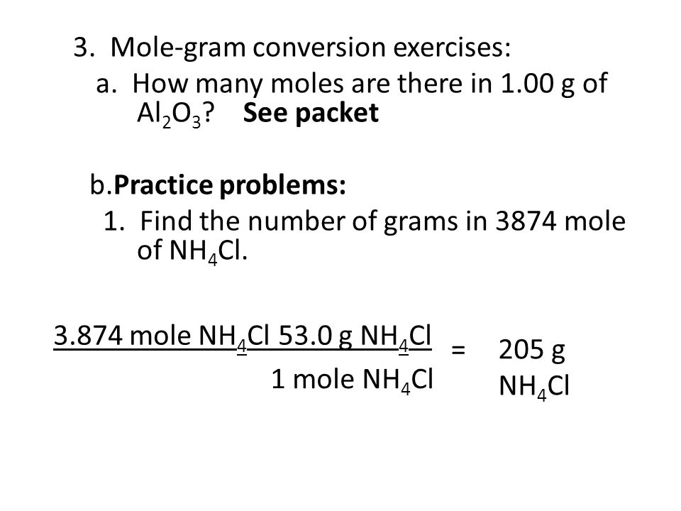 a. How many moles are there in 1.00 g of Al2O3 See packet