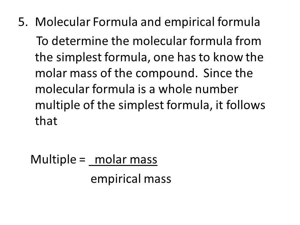 Molecular Formula and empirical formula