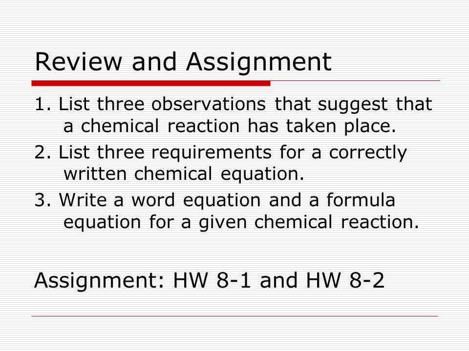 Review and Assignment Assignment: HW 8-1 and HW 8-2