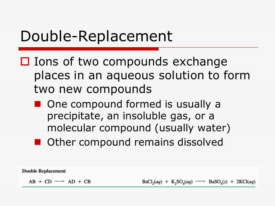 Double-Replacement Ions of two compounds exchange places in an aqueous solution to form two new compounds.