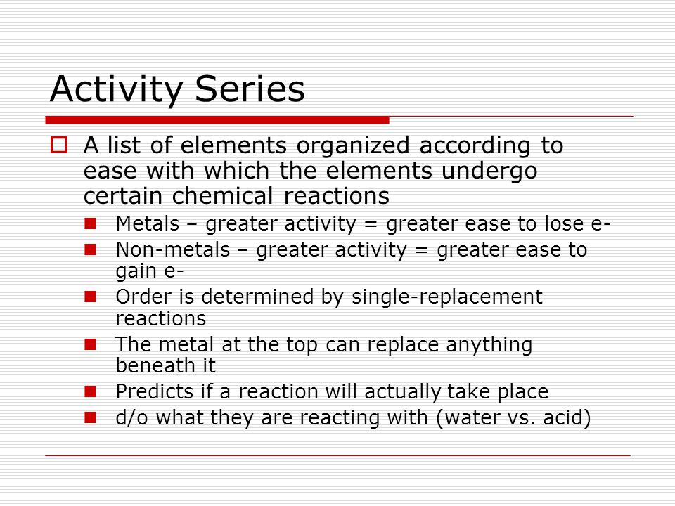 Activity Series A list of elements organized according to ease with which the elements undergo certain chemical reactions.