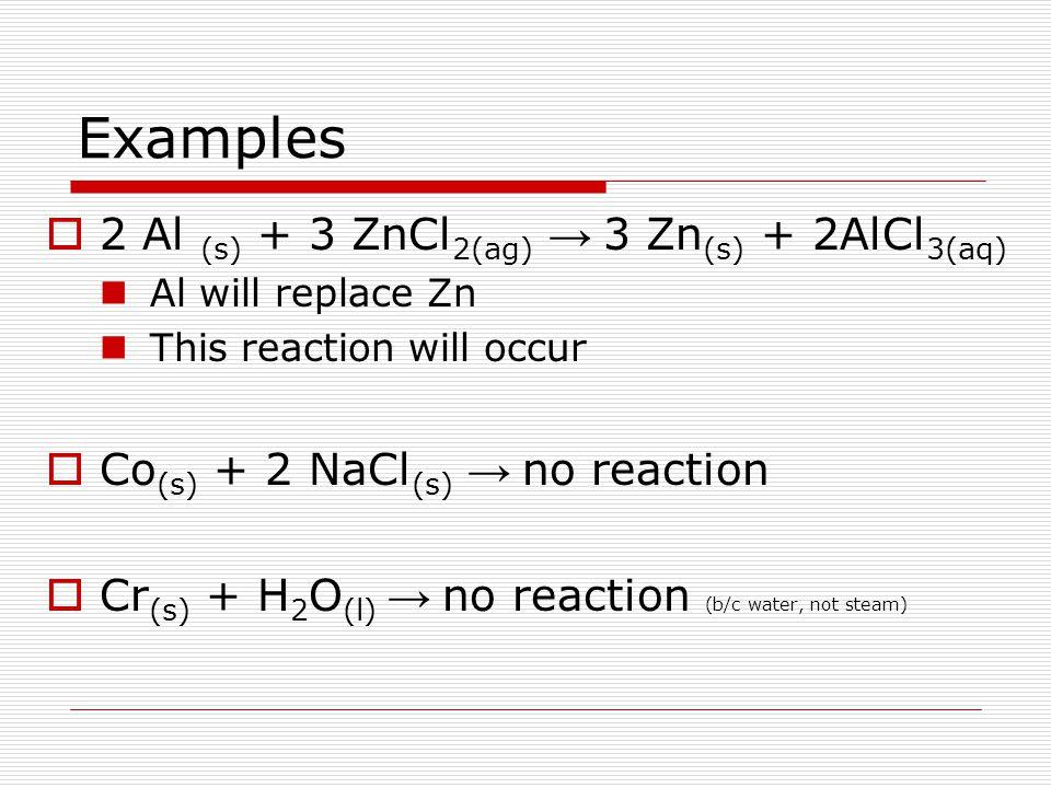 Examples 2 Al (s) + 3 ZnCl2(ag) → 3 Zn(s) + 2AlCl3(aq)