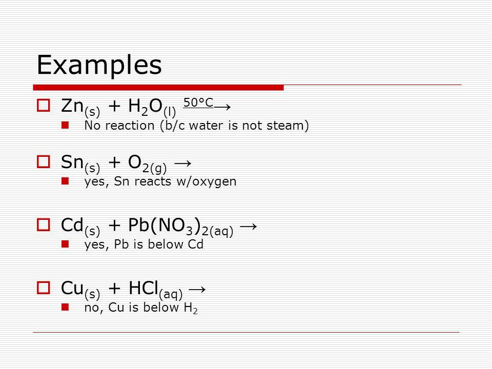 Examples Zn(s) + H2O(l) 50°C→ Sn(s) + O2(g) → Cd(s) + Pb(NO3)2(aq) →