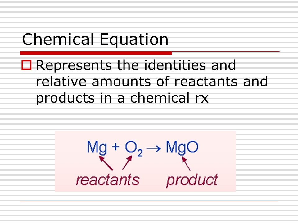Chemical Equation Represents the identities and relative amounts of reactants and products in a chemical rx.