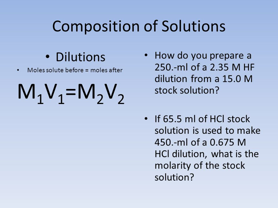 Composition of Solutions