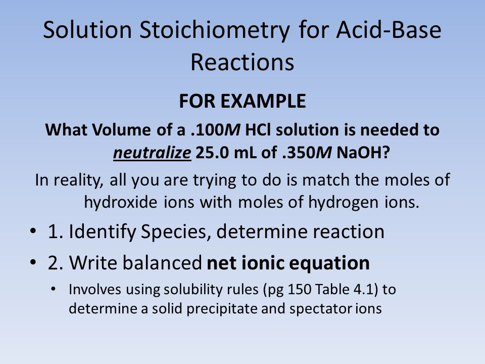 Solution Stoichiometry for Acid-Base Reactions