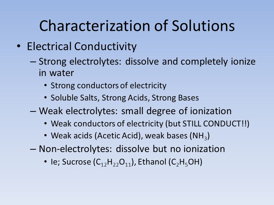 Characterization of Solutions