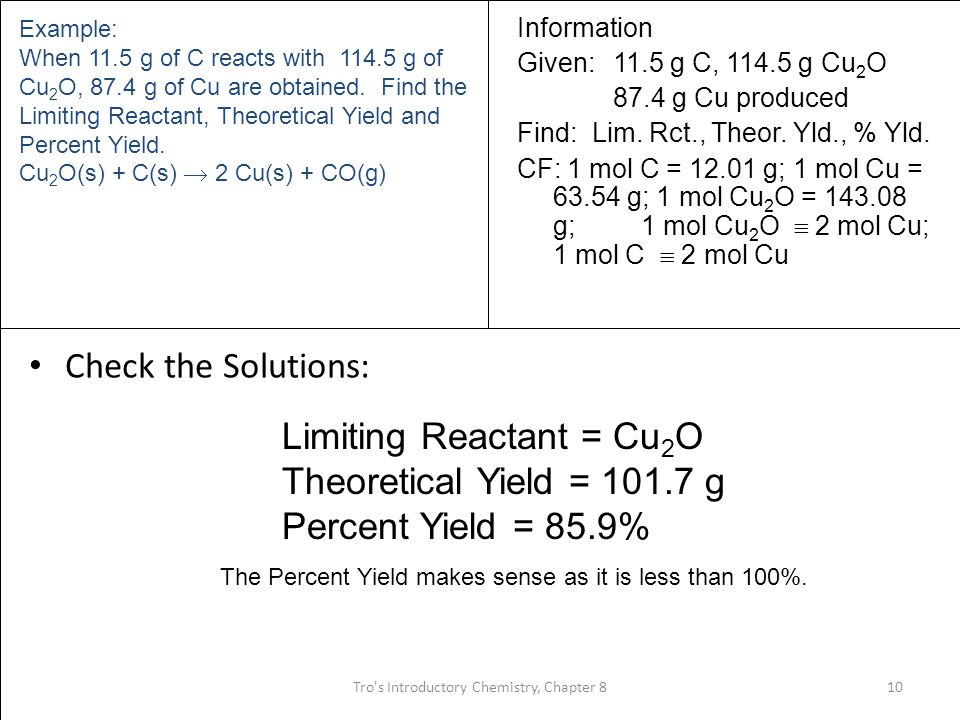 Limiting Reactant = Cu2O Theoretical Yield = 101.7 g