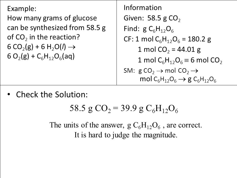 Check the Solution: 58.5 g CO2 = 39.9 g C6H12O6