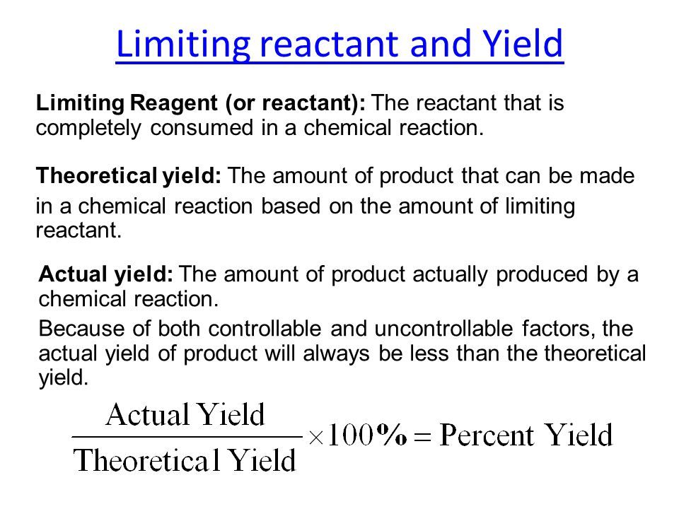 Limiting reactant and Yield