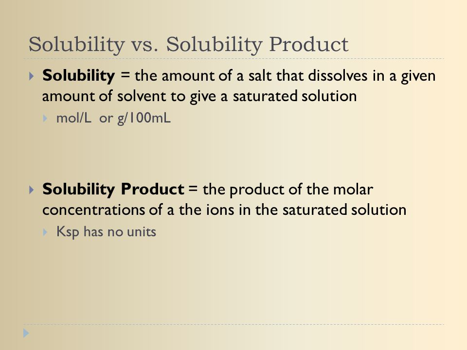 Solubility vs. Solubility Product