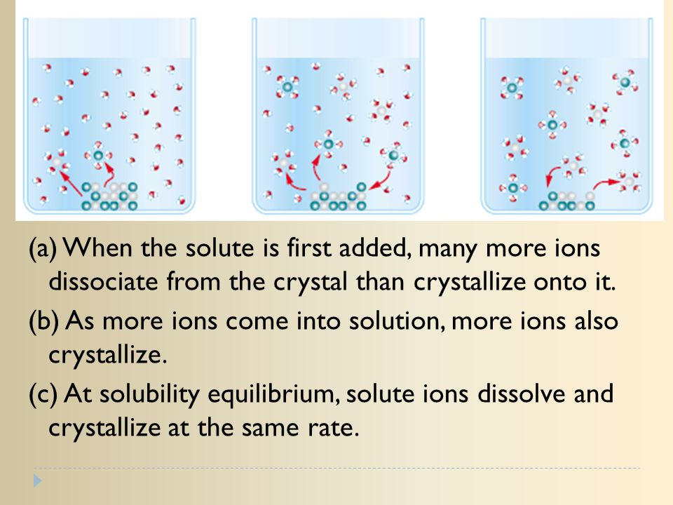 (a) When the solute is first added, many more ions dissociate from the crystal than crystallize onto it.