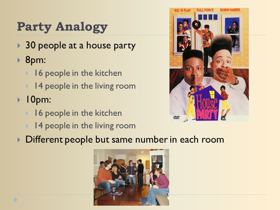 Party Analogy 30 people at a house party 8pm: 10pm: