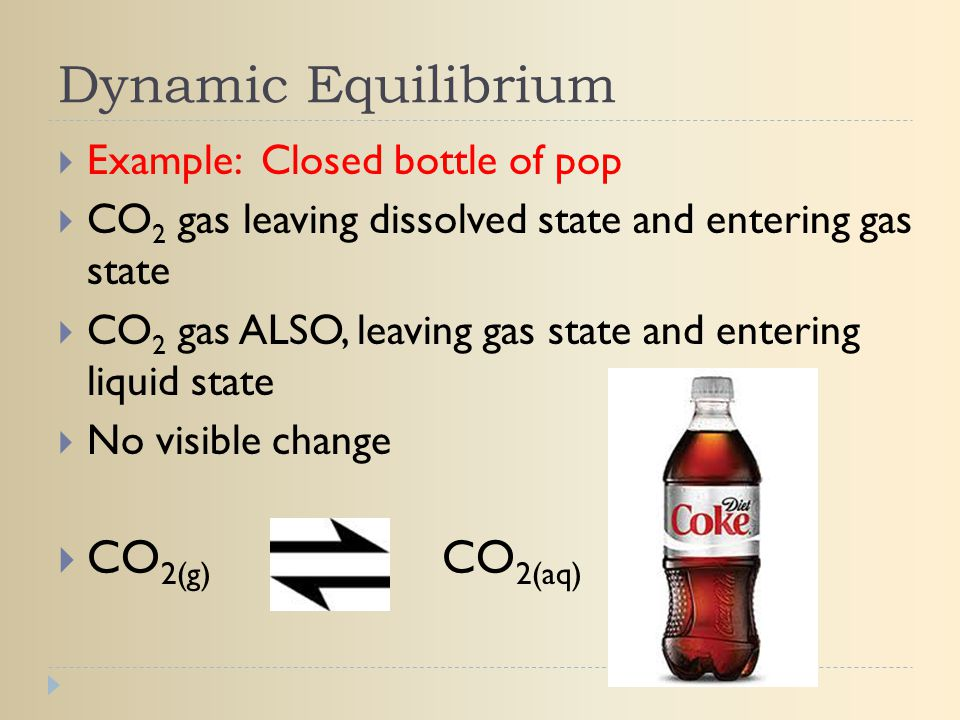 Dynamic Equilibrium CO2(g) CO2(aq) Example: Closed bottle of pop