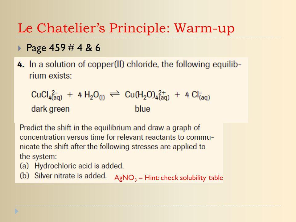 Le Chatelier's Principle: Warm-up