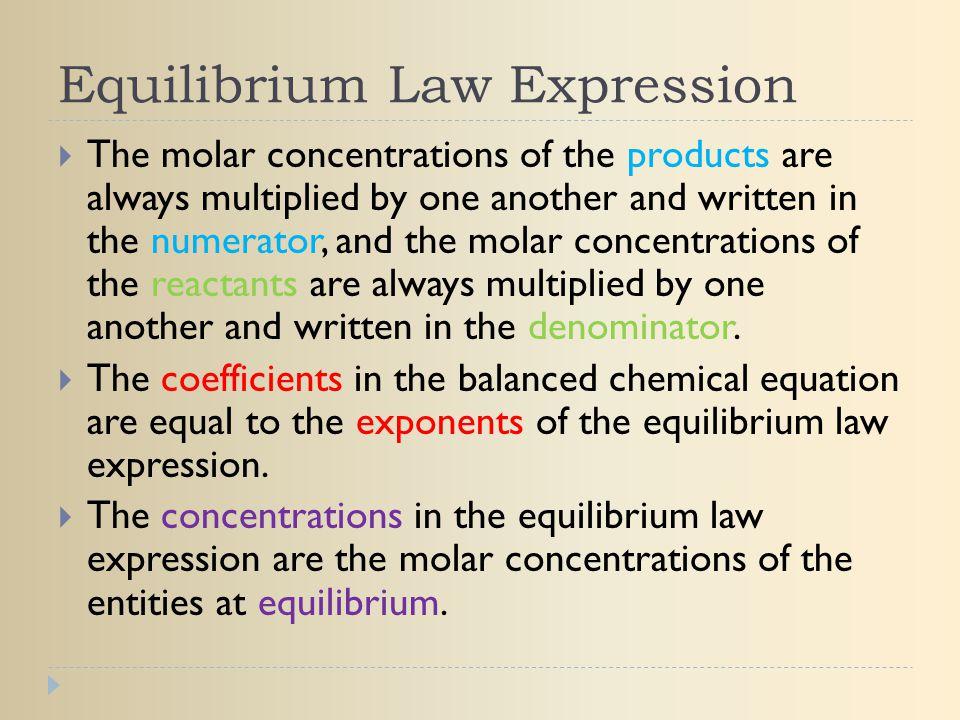 Equilibrium Law Expression