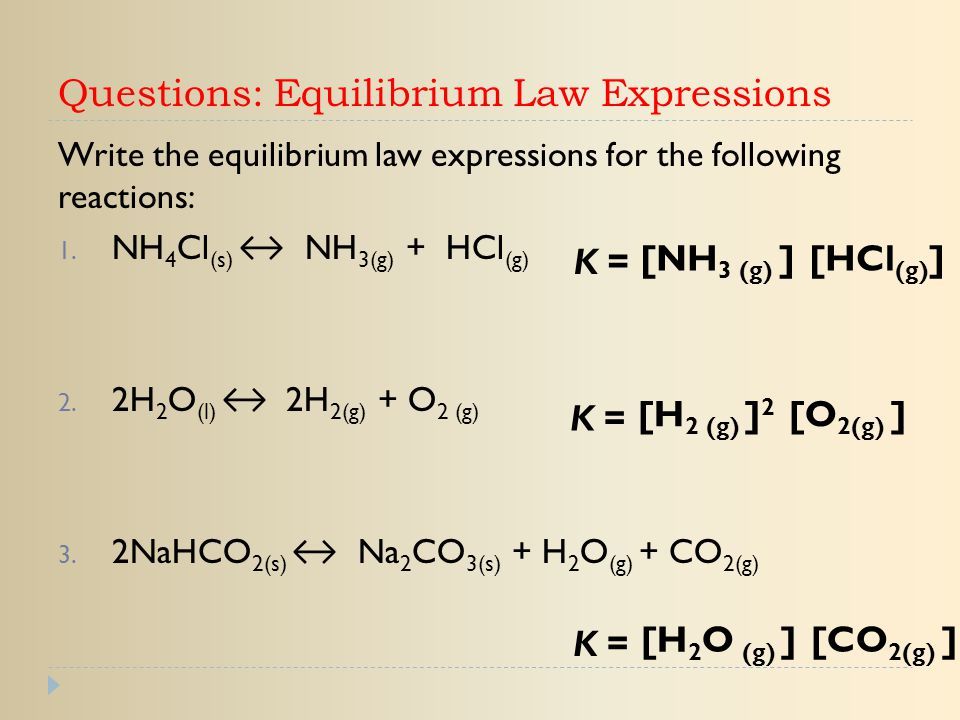 Questions: Equilibrium Law Expressions