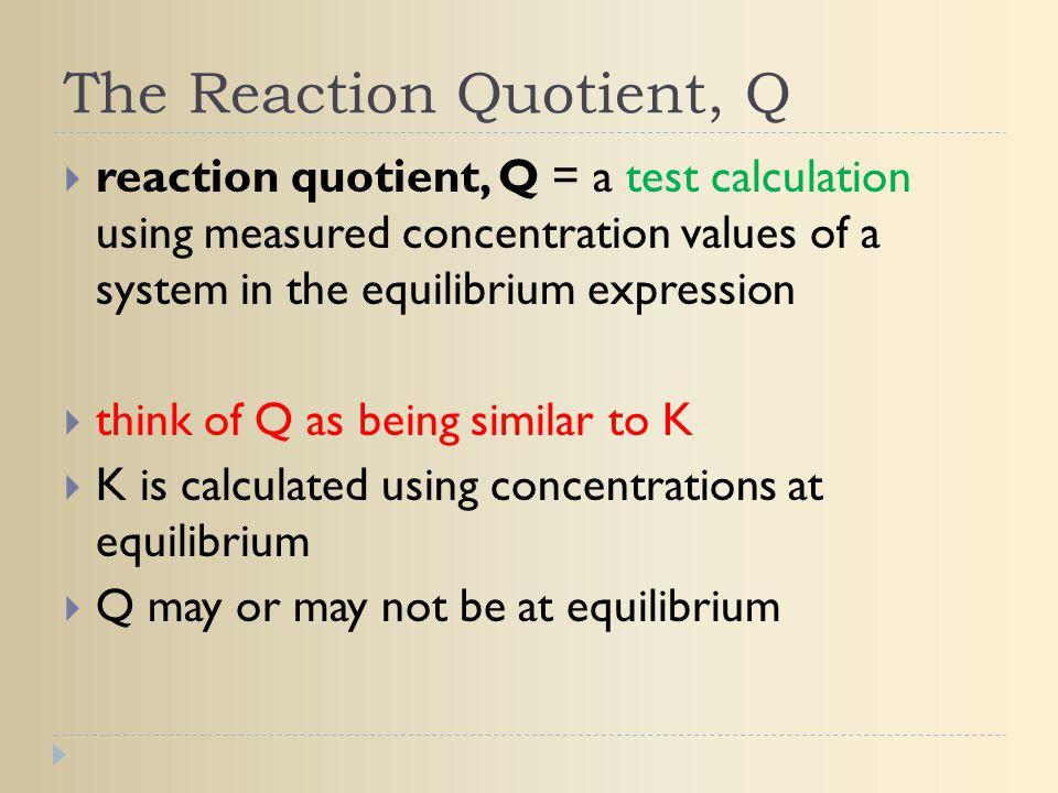 The Reaction Quotient, Q
