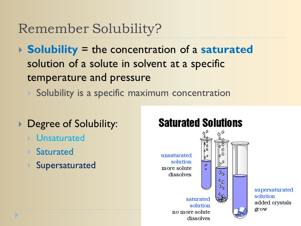 Remember Solubility Solubility = the concentration of a saturated solution of a solute in solvent at a specific temperature and pressure.