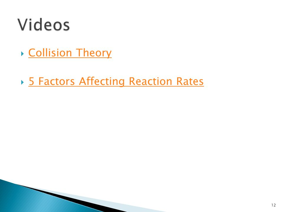 Videos Collision Theory 5 Factors Affecting Reaction Rates