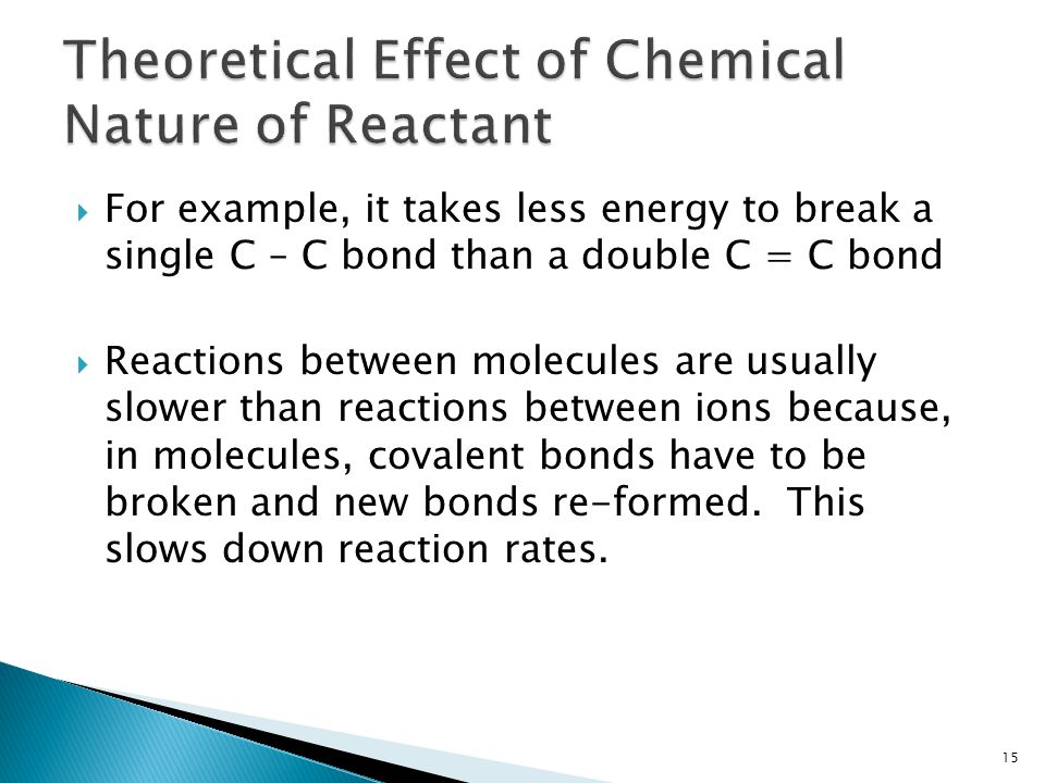 Theoretical Effect of Chemical Nature of Reactant