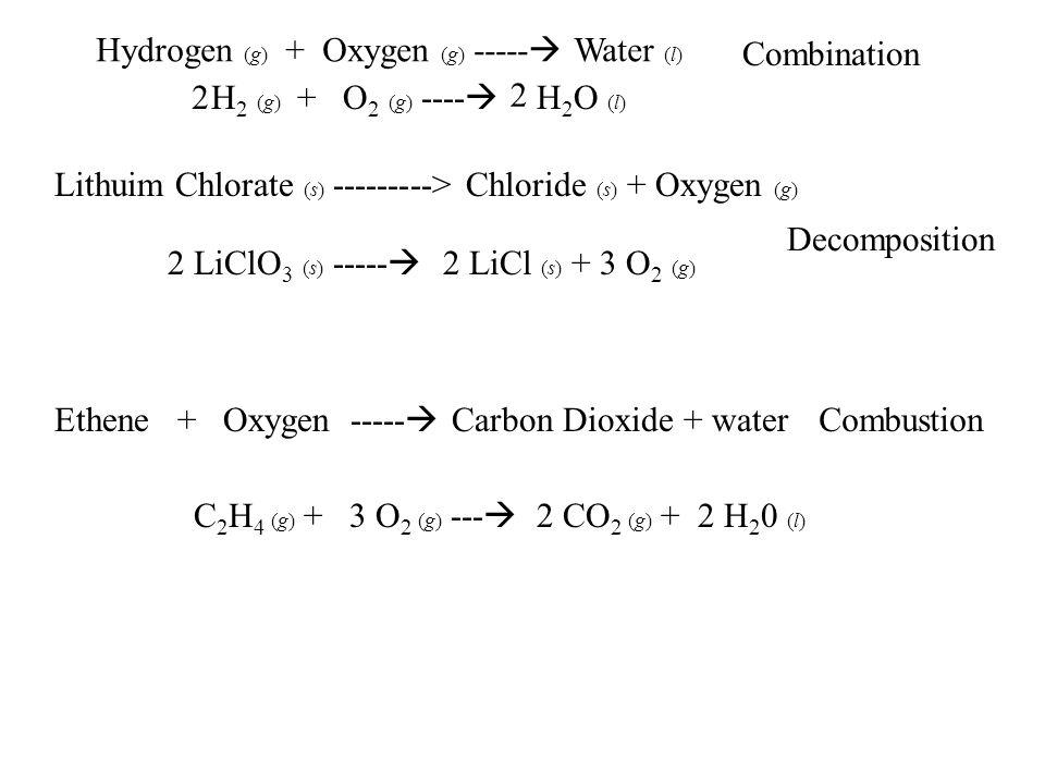 Hydrogen (g) + Oxygen (g) ----- Water (l)