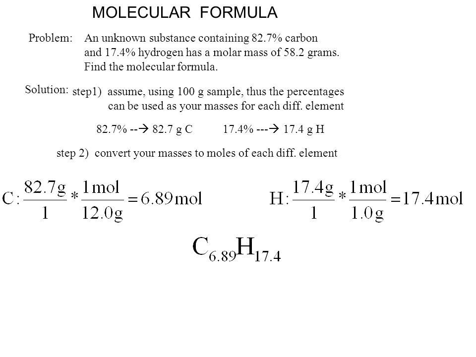 MOLECULAR FORMULA Problem: