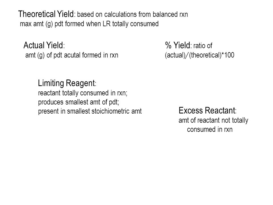 Theoretical Yield: based on calculations from balanced rxn