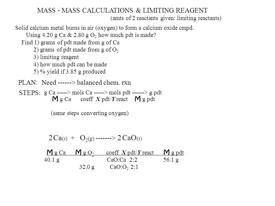 Ca(s) + O2(g) -------> CaO(s)