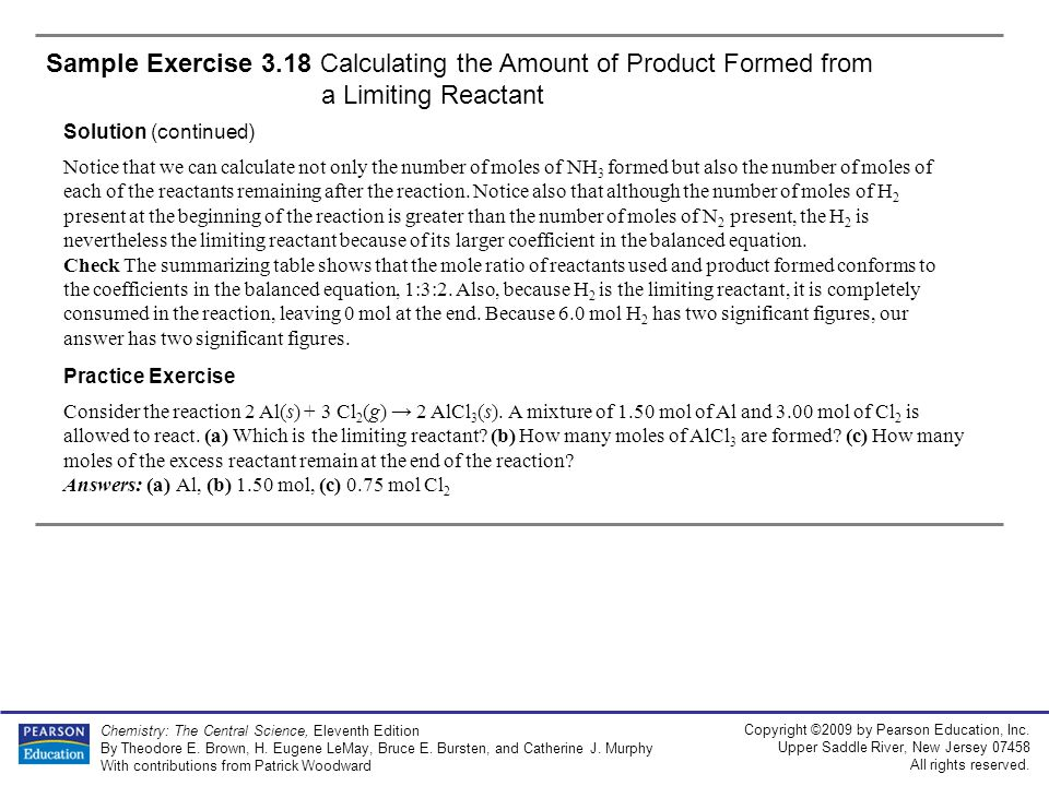 Sample Exercise 3.18 Calculating the Amount of Product Formed from