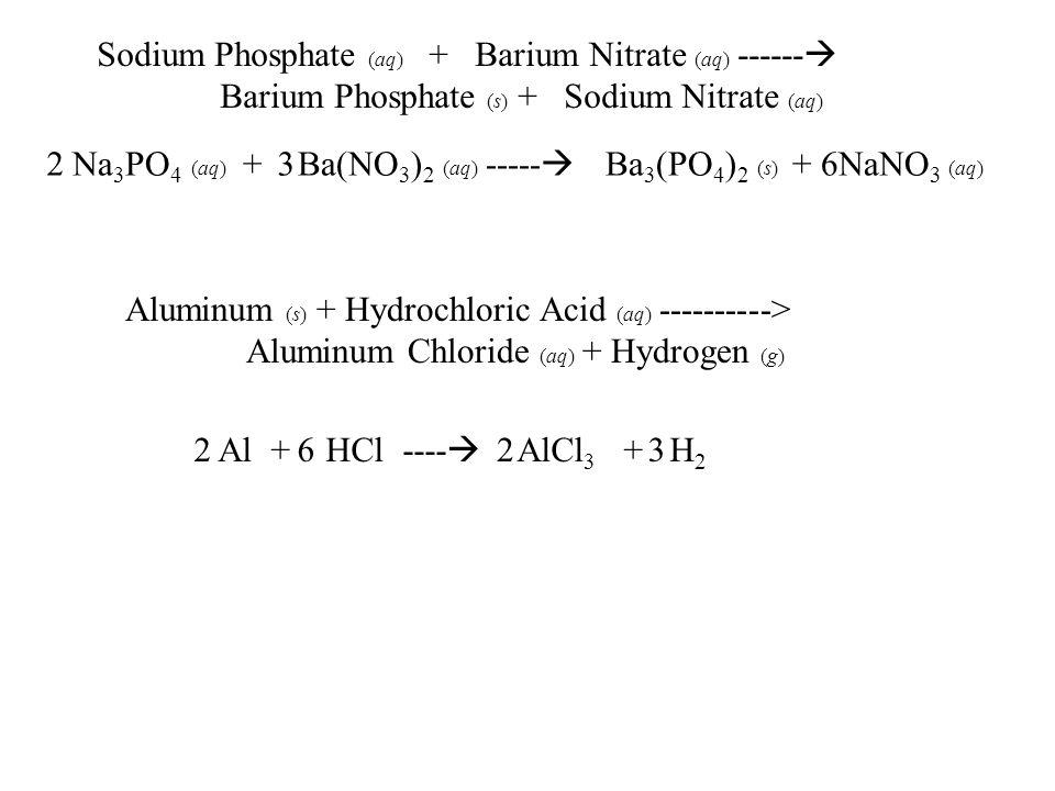 Sodium Phosphate (aq) + Barium Nitrate (aq) ------