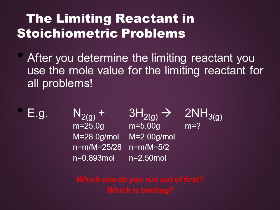 The Limiting Reactant in Stoichiometric Problems