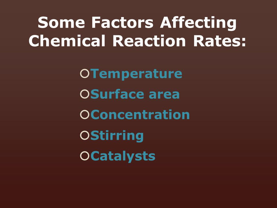 Some Factors Affecting Chemical Reaction Rates: