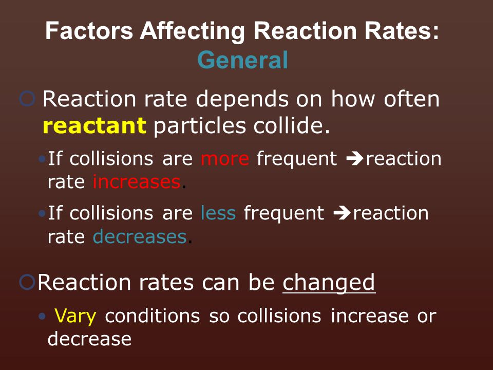 Factors Affecting Reaction Rates: General