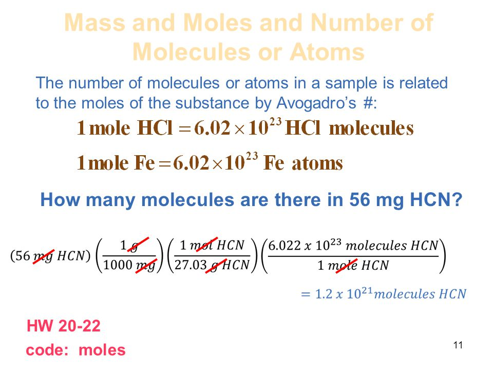 Mass and Moles and Number of Molecules or Atoms