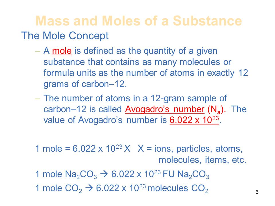 Mass and Moles of a Substance