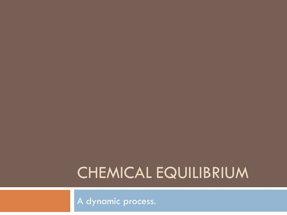 Chemical Equilibrium A dynamic process.