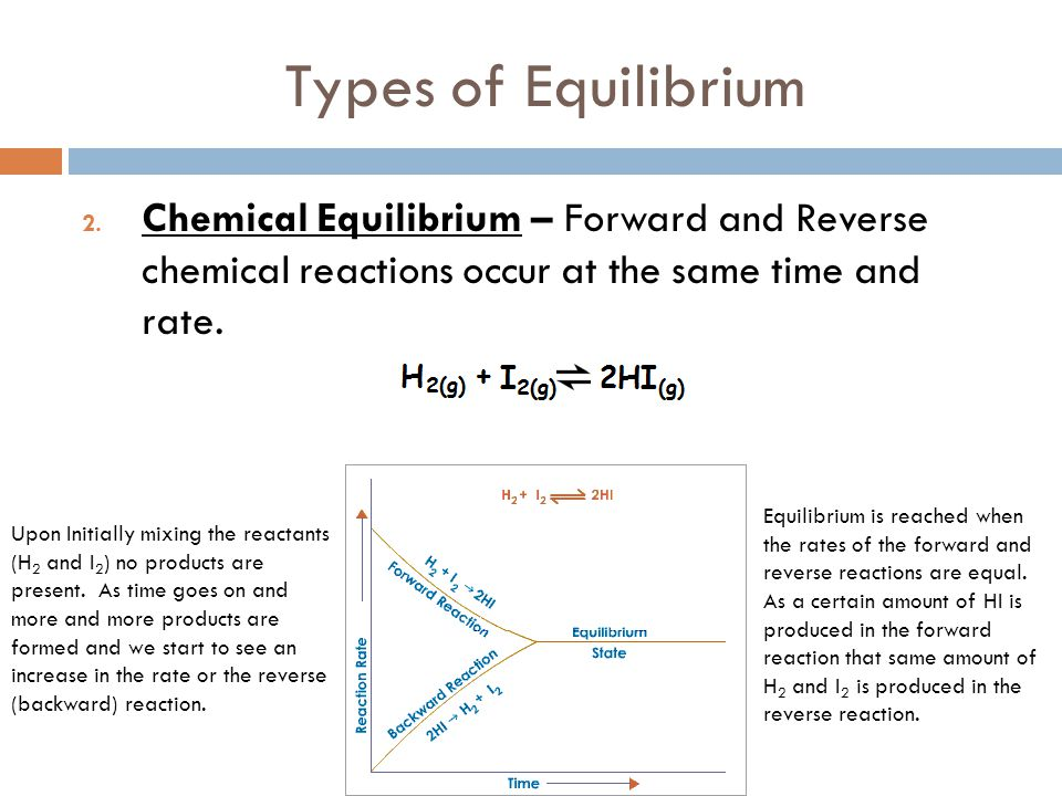 Types of Equilibrium Chemical Equilibrium – Forward and Reverse chemical reactions occur at the same time and rate.