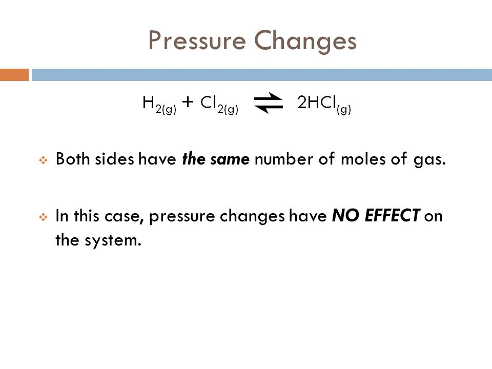 Pressure Changes Both sides have the same number of moles of gas.