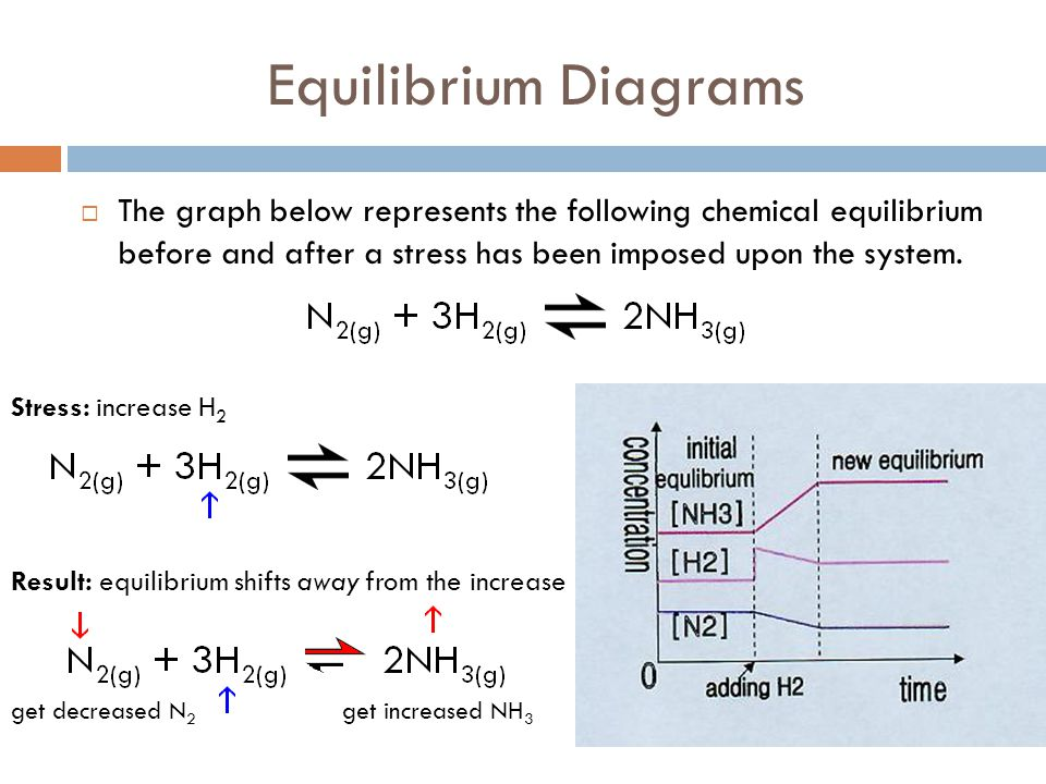 Equilibrium Diagrams The graph below represents the following chemical equilibrium before and after a stress has been imposed upon the system.
