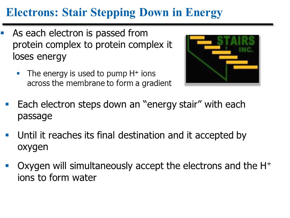 Electrons: Stair Stepping Down in Energy