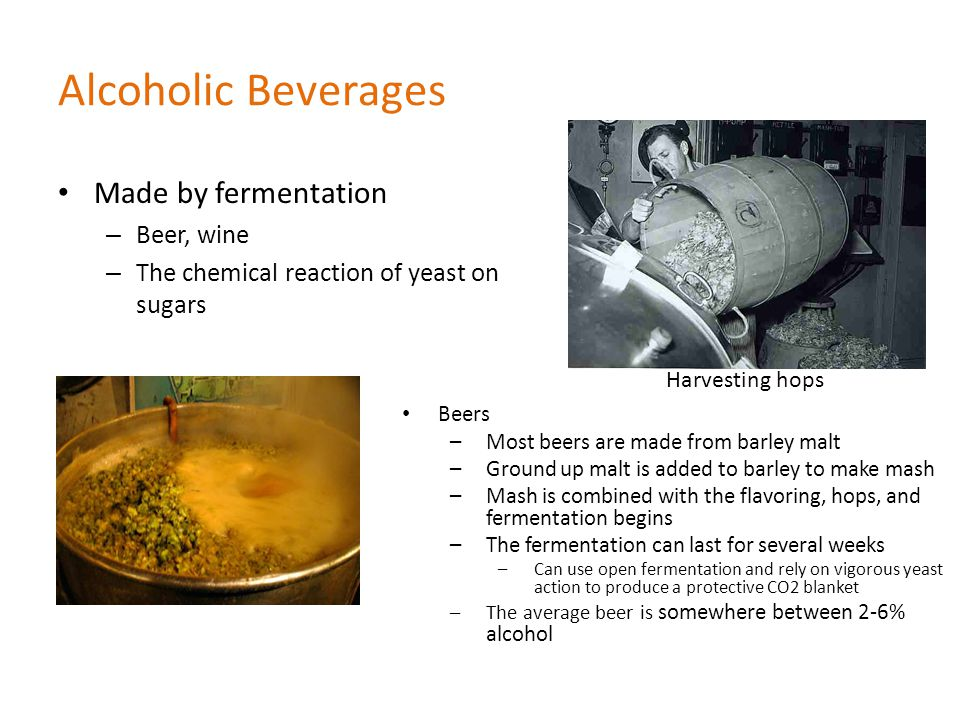 Alcoholic Beverages Made by fermentation Beer, wine