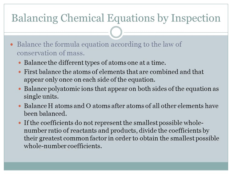 Balancing Chemical Equations by Inspection