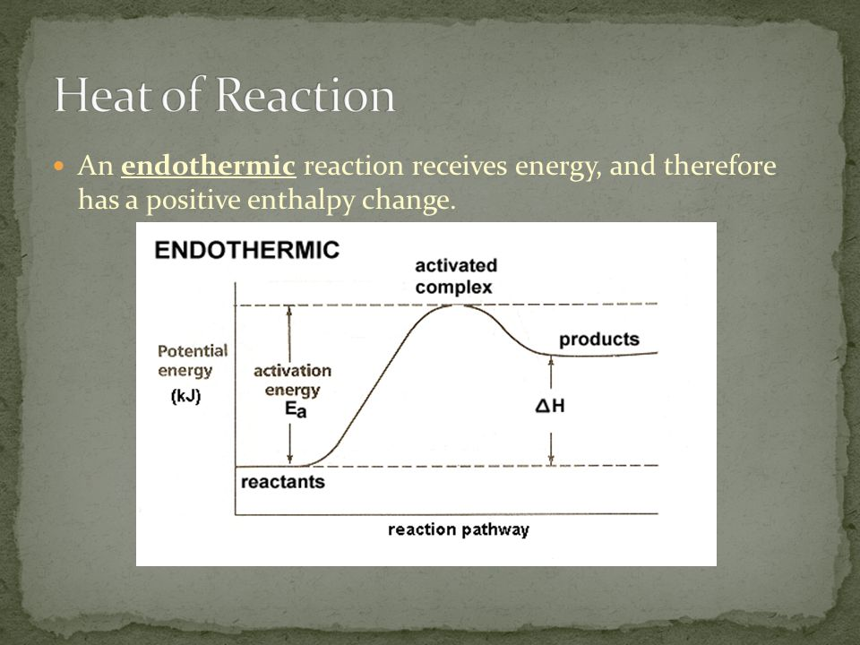 Heat of Reaction An endothermic reaction receives energy, and therefore has a positive enthalpy change.