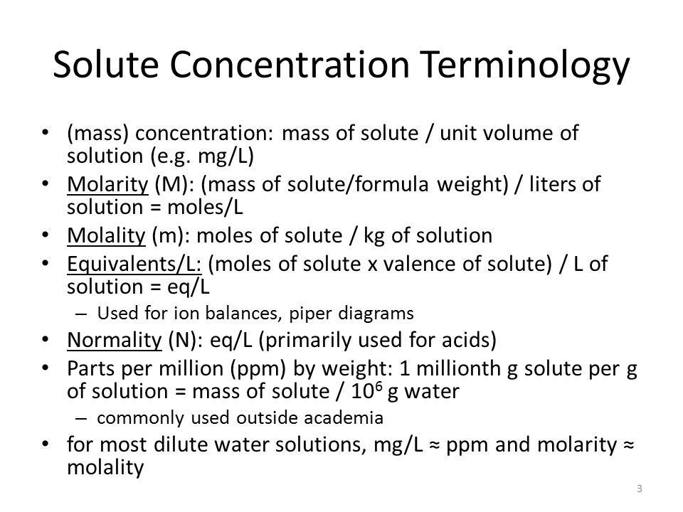 Solute Concentration Terminology