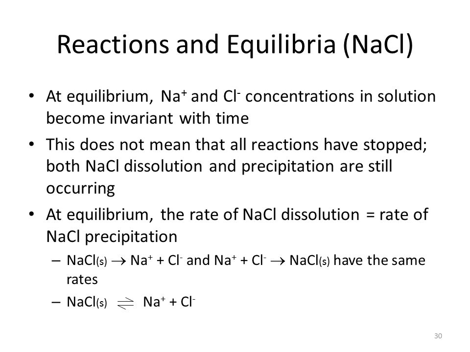 Reactions and Equilibria (NaCl)