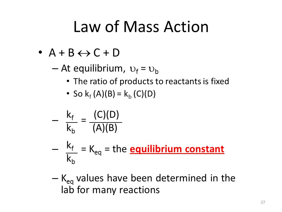 Law of Mass Action A + B  C + D At equilibrium, uf = ub =