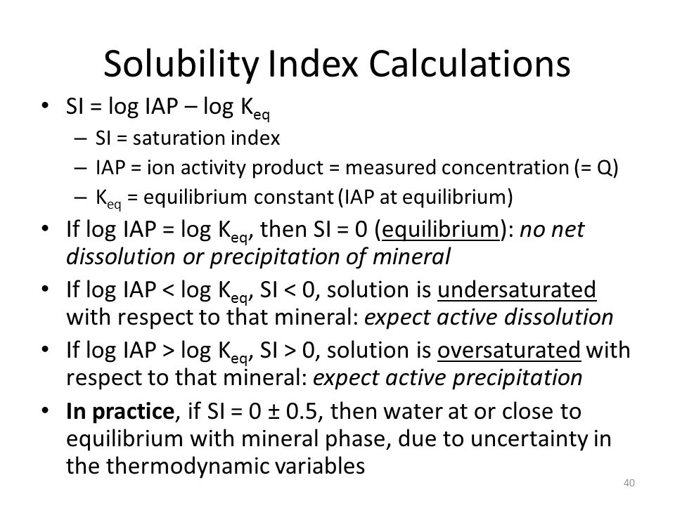 Solubility Index Calculations