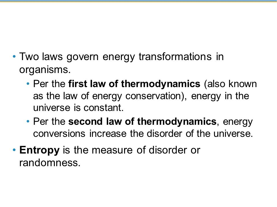 Two laws govern energy transformations in organisms.