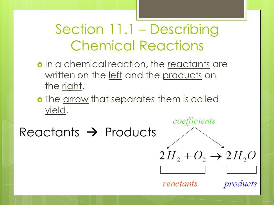 Section 11.1 – Describing Chemical Reactions